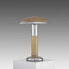 Aged Tan & Chrome Mushroom Table Lamp  (, Vintage)