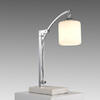 Chrome Table Lamp On Marble Base/White Frosted Glass Sh