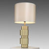 Satin Brass 'ring' Table Lamp With Dove Grey Silk Shade