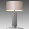 Satin Nickel 'deco' Table Lamp With Dove Grey Silk Shade