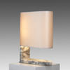 Grey Albaster & Satin Brass 'columbo' Table Lamp Grey Shade