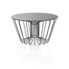 Circ. Black Wire Coffee Table With Black Glass Top