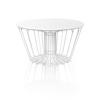 Circ. White Wire Coffee Table With White Glass Top