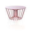 Circ. Red Wire Coffee Table With Red Glass Top