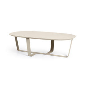 Light Grey Rect Curved  Coffee Table on Cross Base
