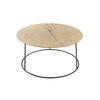 Metal Circular Coffee Table With Log Top
