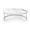 Large Circ Chrome Framed Coffeetable With Marble Top