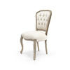 Linen & Distressed Wood Colonial Buttoned Dining Chair