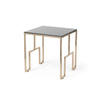 Large Copper Square Side Table With Black Glass Top