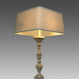 Grey Wash Wooden Carved Ornate Table Lamp with Square Oatmeal Shade