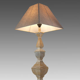 Washed Wooden Column Table Lamp with Square Beige Shade