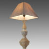 Washed Wooden Column Table Lamp With Shade