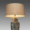 Black Aged Urn Table Lamp & Sage Green Shade