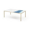 Rect. Blue Mist Organic Top Coffee Table On Metal Frame (102 Cm X 61 Cm X 35 Cm )