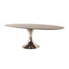 Walnut Marquetry Oval Dining Table On Hammered Nickle Base (121cm X 243cm X H74cm) (Classic)