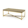 Faux Shagreen & Brass Rect. Coffee Table