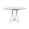 Chrome Eggy Dining Table With Glass Top  (122 Cm X 75 Cm H)