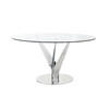 Chrome & Glass Circular Epsylon Dining Table (140cm X H74cm)