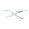 Polished Chrome 'spyder' Dining Table + Xtra Light Glass Top (106cm X 200cm X H74cm)