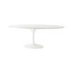 White Lacq. Tulip Base Oval White Marble Top Dining Table ( H: 73cm L: 234cm W: 122cm )