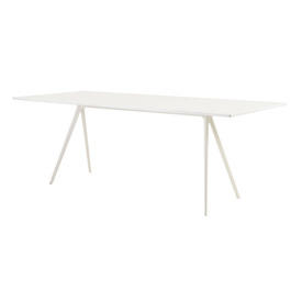 White Leg ''Baguette'' Dining Table with White Glass Top