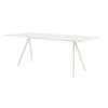 White Leg Baguette Dining Table With White Glass Top
