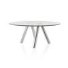 Circ Glass Dining Table With Abstract Chrome Legs