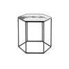 Medium Hexagonal Cobalt Mist Organic Top Lamp Table On Black Metal Frame (54 Cm X 46 Cm X48 Cm)