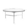 Circ. Chrome Tri Leg 'cordoba' Coffee Table With Glass Top