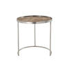 Large Brushed Steel Circ Lamp Table With Textured Copper Top