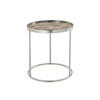 Small Brushed Steel Circ Lamp Table With Textured Copper Top