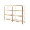 Beech & White 'steelwood' 4 Tier Double S/Unit + Wht Shelves