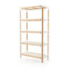 Beech & White 'steelwood' 5 Tier Shelving Unit + Wht Shelves