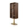 Darkwood Vertical Shelving Unit On Gold Metal Base ( H: 168cm W: 64cm D: 31cm )