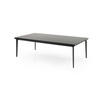 Rect Black Glass Coffee Table On Black Gloss Legs