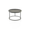 Small  Low Circ. Black Metal Tray Table (49 Cm  X 31 Cm)