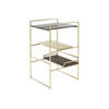 Brushed Gold 'architect' Occasional Table With Wood, Marble & Gold Shelves
