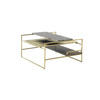 Small Square Brushed Gold 'architect' Coffee Table With Gold ,Wood & Marble Shelves