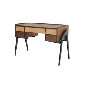 50S Teak & Fumed Ash Desk with Ebonised Legs