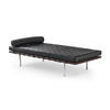 Black Leather & Wood Barcelona Chaise Longue With Bolster Cuchion