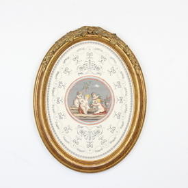 """18"""" X 14"""" Gilt Framed Oval Print 'peutto'"""