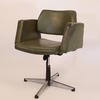 Green Vinyl 50's Tub Chair On Swivel Base