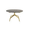 Brushed Gold 'razor' Coffee Table With Brown Marble Top