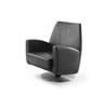 Large Heavy Black Leather Chair On Swivel Base