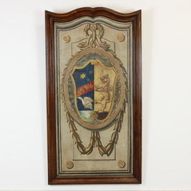 "4'4"" x  2'4"" Mahogany Framed Scallop Top Tapestry Effect Coat Of Arms Print"