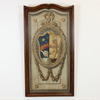 "4'4""X 2'4"" Mahogany Framed Scallop Top Tapestry Effect Coat Of Arms Print (Y)"