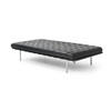 Black Leather Buttoned Barcelona Day Bed/Chaise