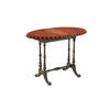 Red Velvet & Aged Metal Folding Card Table 55 Cm H X 21 Cm X 52 Cm (Closed) 73 Cm X 52 Cm (Open) (, Vintage)
