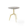 Brushed Gold 'razor' Occasional Table With Brown Marble Top (50cm X 61cm H)