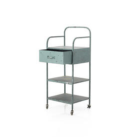 Aged Blue Metal 2 Tier, 1 Drawer industrial Trolley